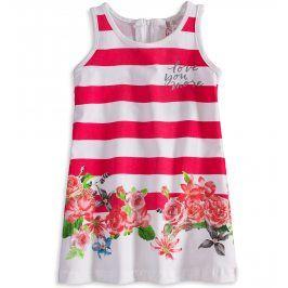 Dívčí šaty bez rukávů KNOT SO BAD FLOWERS růžový pruh Velikost: 92