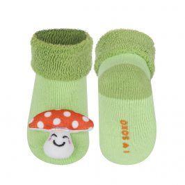 Kojenecké ponožky s chrastítkem SOXO MUCHOMŮRKA zelené Velikost: 16-18