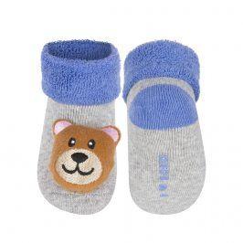 Kojenecké ponožky s chrastítkem SOXO MEDVÍDEK šedé Velikost: 16-18