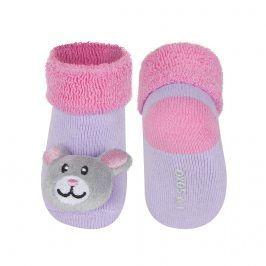 Kojenecké ponožky s chrastítkem SOXO MYŠKA fialové Velikost: 16-18