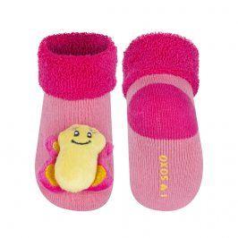 Kojenecké ponožky s chrastítkem SOXO MOTÝLEK růžové Velikost: 16-18