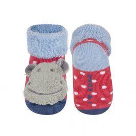Kojenecké ponožky s chrastítkem SOXO HROŠÍK červené Velikost: 16-18