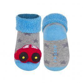 Kojenecké ponožky s chrastítkem SOXO AUTÍČKO šedé Velikost: 16-18