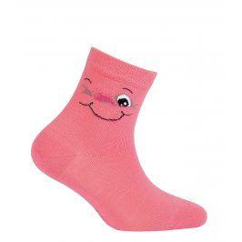 Dívčí ponožky se vzorem GATTA SMILE růžové Velikost: 30-32