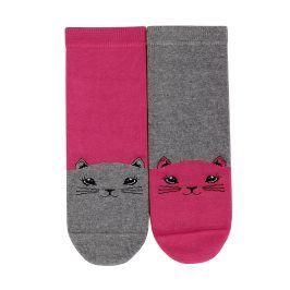Dívčí vzorované ponožky GATTA KOČKA růžové Velikost: 27-29