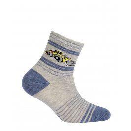 Chlapecké vzorované ponožky GATTA BULDOZER šedé Velikost: 21-23