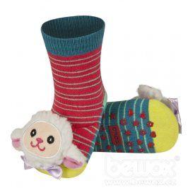 Ponožky s chrastítkem SOXO OVEČKA červené Velikost: 19-21