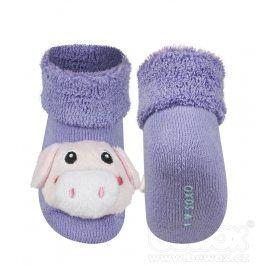SOXO Kojenecké ponožky s chrastítkem PRASÁTKO fialové Velikost: 16-18