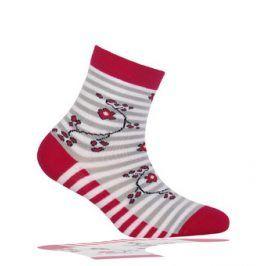 Dětské ponožky WOLA vzor PROUŽKY KYTIČKY Velikost: 21-23