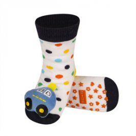 SOXO Ponožky s chrastítkem AUTO bílé Velikost: 19-21
