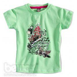 GIRLSTAR Dívčí tričko s krátkým rukávem MOTÝL zelené Velikost: 92-98