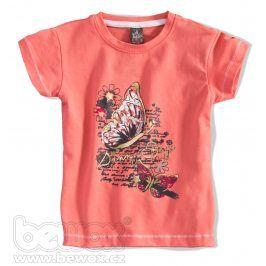GIRLSTAR Dívčí tričko s krátkým rukávem MOTÝL oranžové Velikost: 92-98