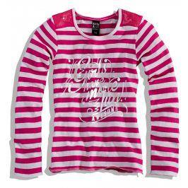 PEBBLESTONE Dívčí triko dlouhý rukáv PROUŽKY růžové Velikost: 176
