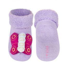 Ponožky s chrastítkem SOXO MOTÝLEK fialové Velikost: 14-15