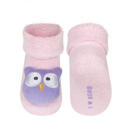 Ponožky s chrastítkem SOXO SOVIČKA růžové Velikost: 14-15