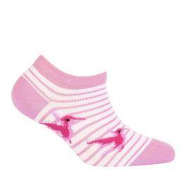 Dívčí kotníkové ponožky WOLA PTÁČEK růžové Velikost: 21-23