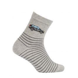 Chlapecké vzorované ponožky WOLA AUTO šedé Velikost: 39-41