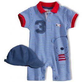Chlapecký letní overal s kšiltovkou BABALUNO BEAR modrý Velikost: 56-62