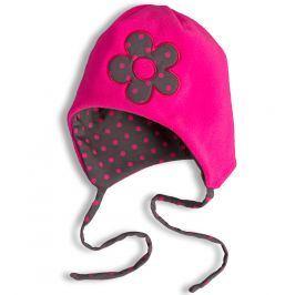 Dívčí fleecová čepice YETTY KYTIČKA neon růžová Velikost: 45-48 cm
