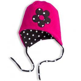 Dívčí fleecová čepice YETTY KYTIČKA tmavě růžová Velikost: 49-52 cm