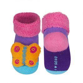 SOXO Kojenecké ponožky s chrastítkem MOTÝLEK fialové Velikost: 16-18