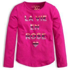 Dívčí tričko s dlouhými rukávy LOSAN ROSE růžové Velikost: 158