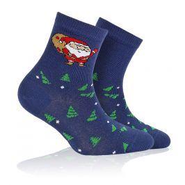 Dětské ponožky s vánočním vzorem WOLA SANTA CLAUS modré Velikost: 21-23