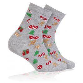Dětské ponožky s vánočním motivem WOLA VÁNOCE šedé Velikost: 21-23