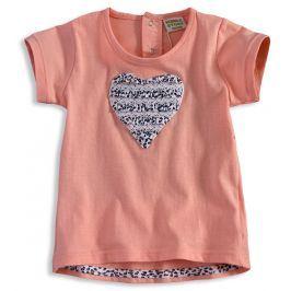 Kojenecké dívčí tričko PEBBLESTONE SRDCE meruňkové Velikost: 68