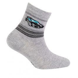 Chlapecké ponožky se vzorem GATTA SPORTOVNÍ AUTO šedý melír Velikost: 21-23