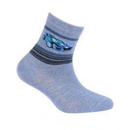 Chlapecké ponožky se vzorem GATTA SPORTOVNÍ AUTO modrý melí Velikost: 21-23
