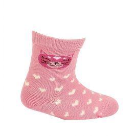 Kojenecké dívčí vzorované ponožky WOLA KOČIČKA růžové Velikost: 15-17