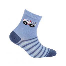 Vzorované chlapecké ponožky WOLA AUTO MÍCHAČKA modré Velikost: 21-23