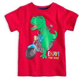Chlapecké tričko s potiskem KNOT SO BAD DINO RIDE červené Velikost: 92