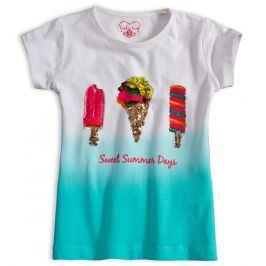 Dívčí tričko s flitry KNOT SO BAD SWEET SUMMER tyrkysové Velikost: 92