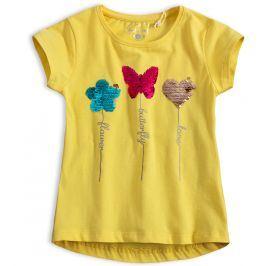 Dívčí tričko s překlápěcími flitry KNOT SO BAD MOTÝL žluté Velikost: 92
