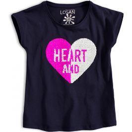 Dívčí tričko s překlápěcími flitry LOSAN HEART modré Velikost: 128