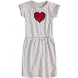 Dívčí šaty s překlápěcími flitry KNOT SO BAD SRDCE šedý melír Velikost: 140