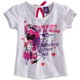Dívčí tričko s krátkým rukávem DIRKJE LOVE bílé Velikost: 104