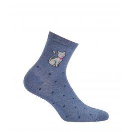 Dětské vzorované ponožky WOLA KOČIČKA modré Velikost: 36-38