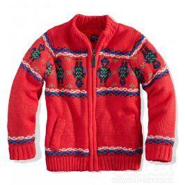 MINOTI Kojenecký chlapecký zateplený svetr ROBOT červený Velikost: 80-86