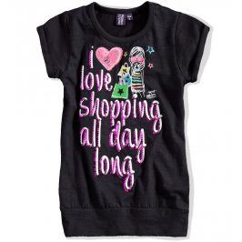 Dívčí tričko s krátkým rukávem PEBBLESTONE černé Velikost: 92-98