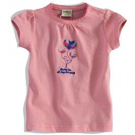 Kojenecké dívčí tričko PEBBLESTONE SRDÍČKA růžové Velikost: 68