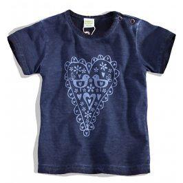 PEBBLESTONE Kojenecké dívčí tričko SRDÍČKO modré Velikost: 68