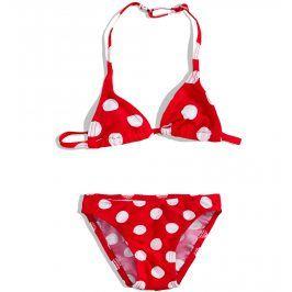 PEBBLESTONE Dívčí 2dílné plavky PUNTÍKY červené Velikost: 92-98