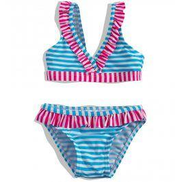 Dívčí plavky PEBBLESTONE PROUŽKY tyrkysové Velikost: 92-98