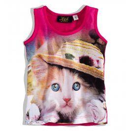 KNOT SO BAD Dívčí tričko bez rukávů KnotSoBad KOTĚ růžové Velikost: 92