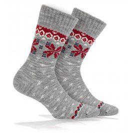 Vlněné ponožky WOLA NORSKÝ VZOR šedé