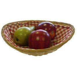 TORO košíček proutěný oválný s látkou 16 x 24 x 6,2 cm