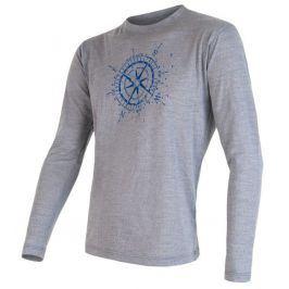 Pánské triko Sensor Merino Wool PT Kompas dl.r. Velikost: XXL / Barva: šedá